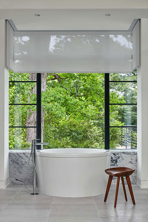 Crestron luxury automated shades for bath