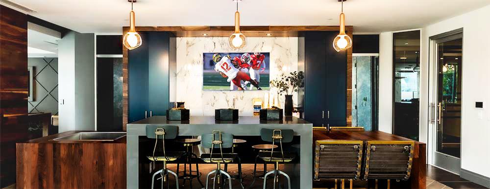 Alexan Atlanta Coffee Bar Rec Room television