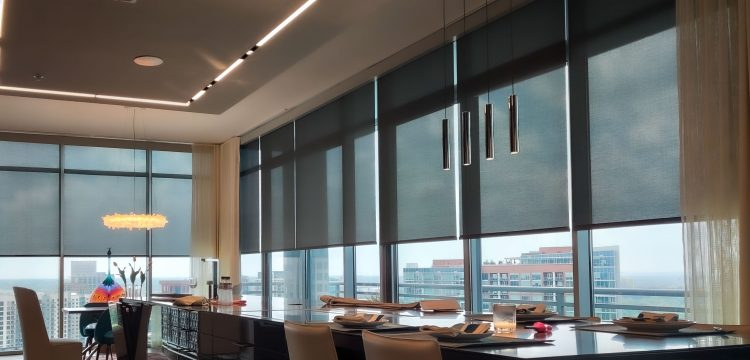 Automated shades, high-rise dining room, Atlanta GA
